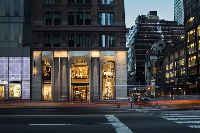 Fendi storefront NYC. Architectural lighting photography specialist Ella Bessette captures the storefront lighting at dusk.