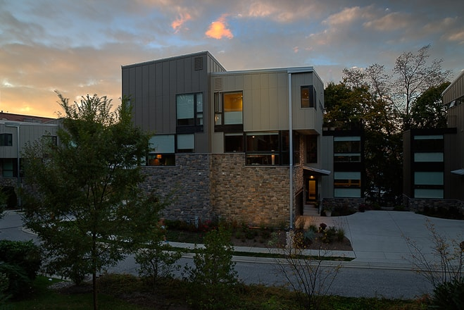 Modern green private residence in Baltimore MD. Architectural photography showing exterior lighting design at sunset. San Francisco architectural photographer Ella Bessette.