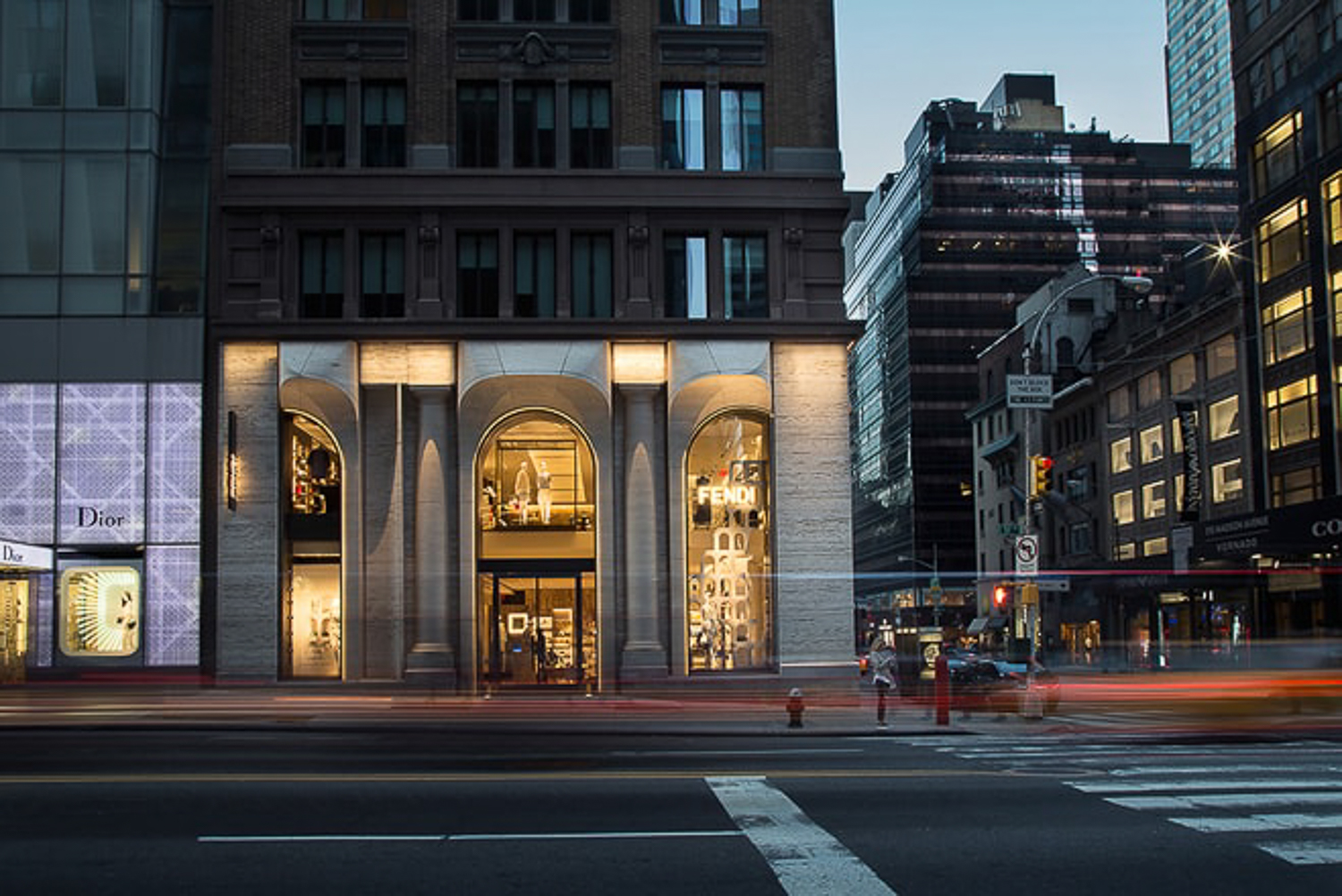 Fendi NYC storefront by urban architecture photographer Ella Bessette. San Francisco Bay Area Architectural building photographers