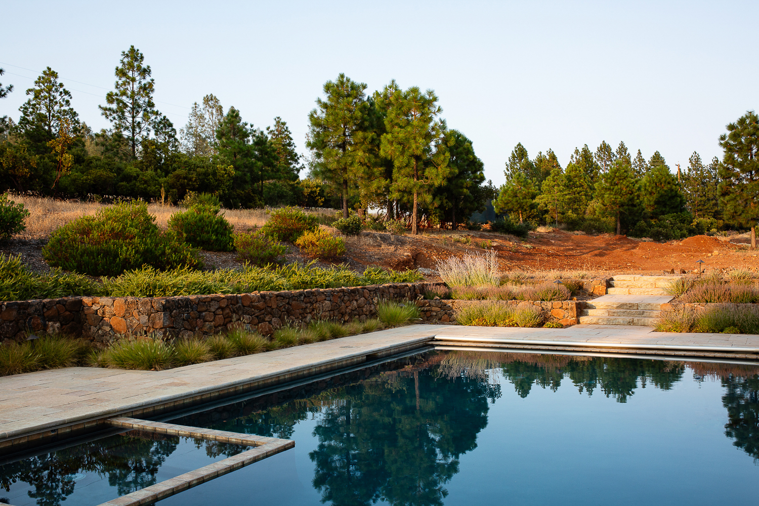LEED certified landscape design photographers, Pacific Northwest architectural photographers. Pool with fire and drought resistant landscaping.