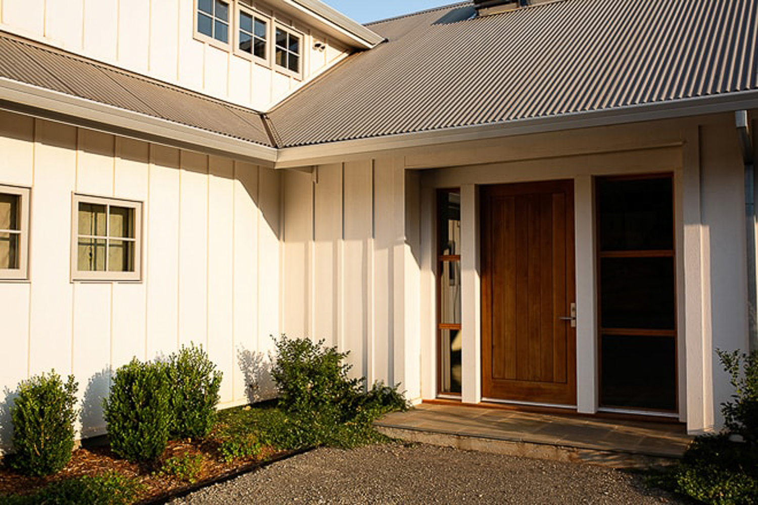 Sonoma residential architecture design. Front door entryway by San Francisco Bay Area architectural photographers