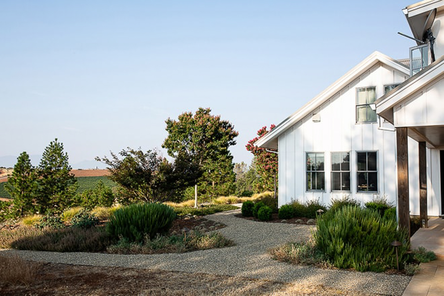 Landscape design photography, Sonoma residence with drought friendly landscape design.
