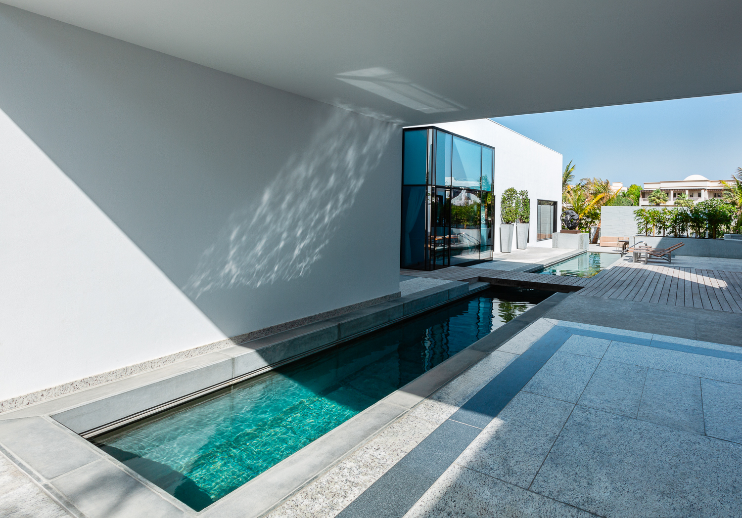 Lap pool in private courtyard by top architectural photographers Ella Bessette, San Francisco California