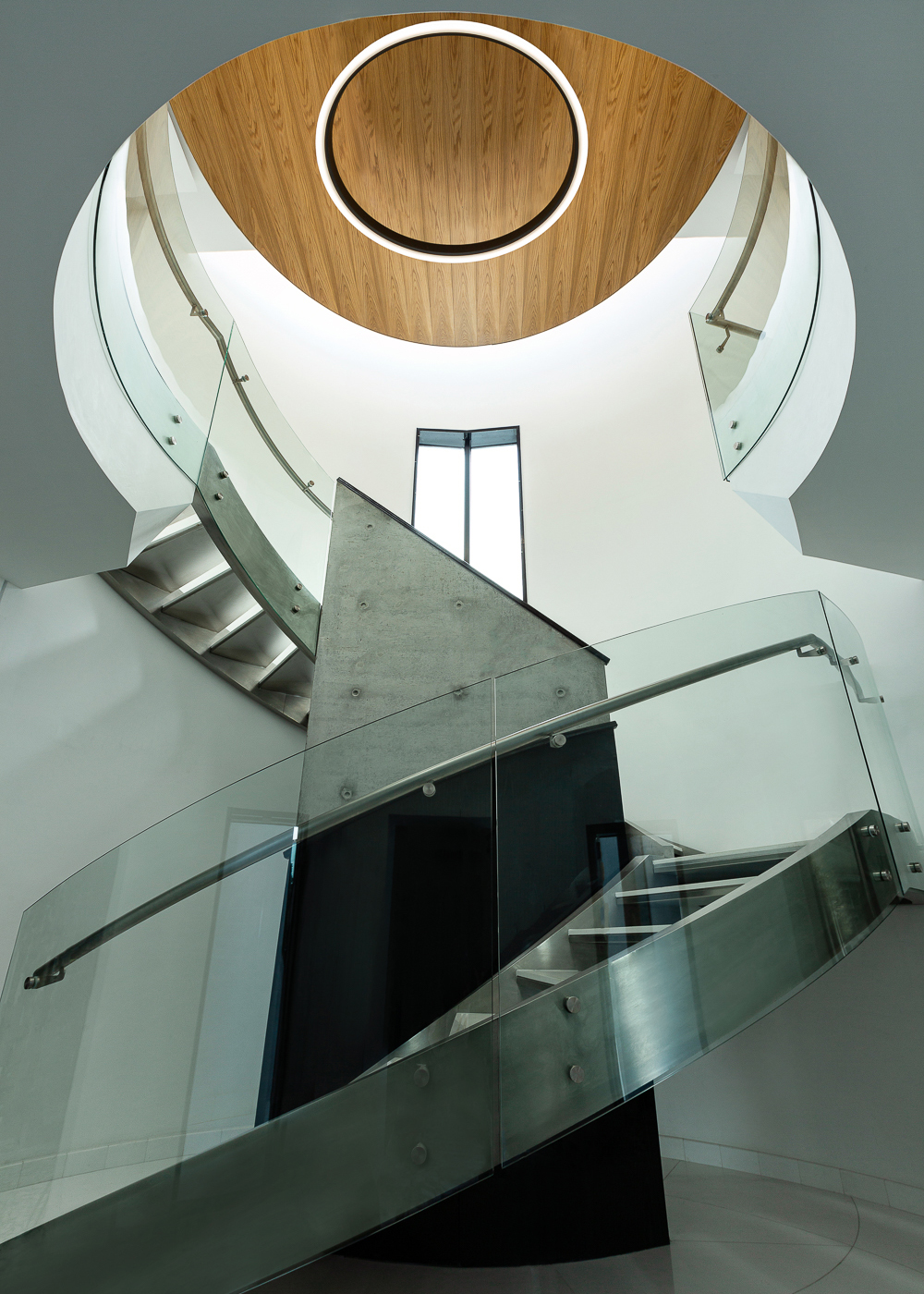 Modern architecture photography, grand staircase. Top architectural interior photography by Ella Bessette.