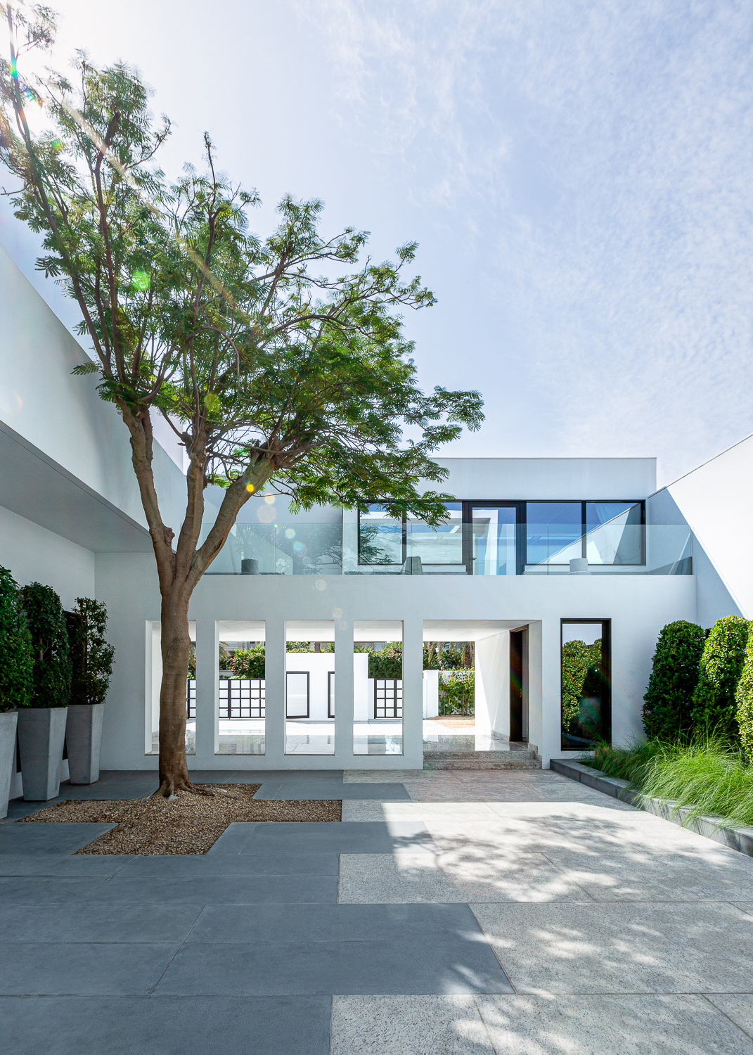 Clean modern high end architecture, courtyard in Dubai Villa by Bay Area Architectural photographer Ella Bessette